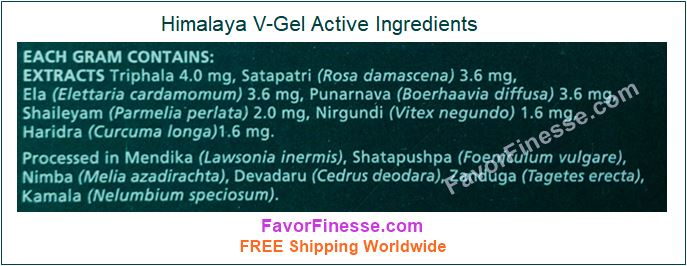 V Gel himalaya active ingredients graphic