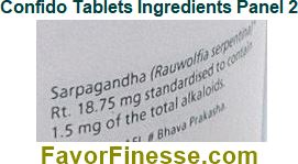 Himalaya Confido tablets ingredients panel 2