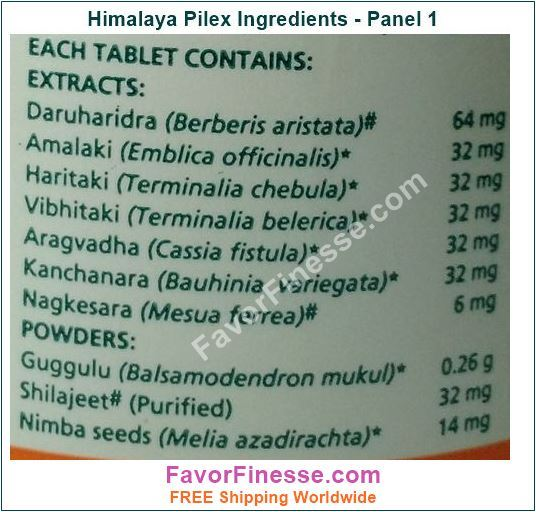 Pilex Tablets Ingredients Panel 1