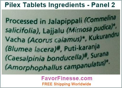 Pilex Tablets Ingredients Panel 2
